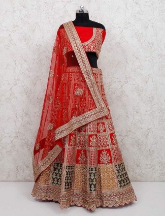 A classic red semi stitched silk lehenga choli
