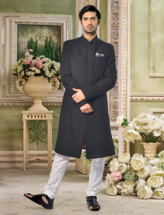 A eternal black wedding sherwani in terry rayon