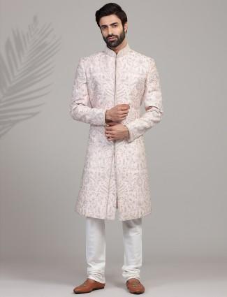 A hue of light pink in silk sherwani
