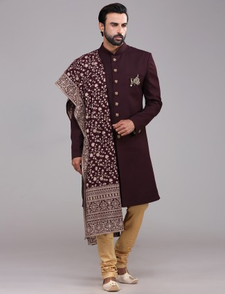 A royal wine maroon terry rayon sherwani wedding wear