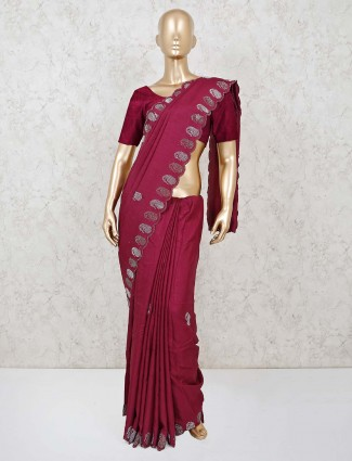 Adorable maroon dola silk saree