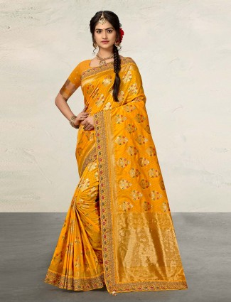 Adorable mustard yellow saree in banarasi silk