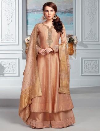 Adorable peach cotton silk punjabi palazzo suit