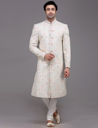 Adorable white silk sherwani set