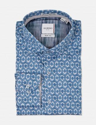 Albino blue mens printed shirt