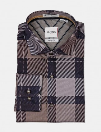 Albino brown stripe formal wear shirt