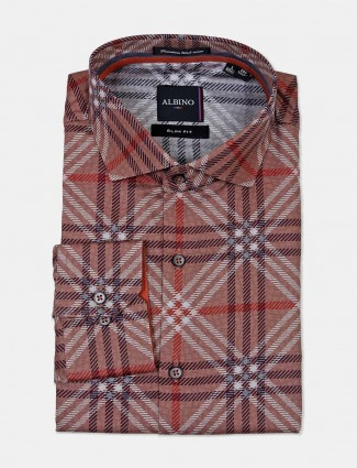 Albino checks brown cotton formal shirt