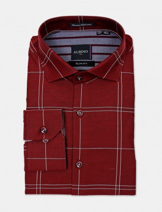 Albino maroon checks slim fit shirt