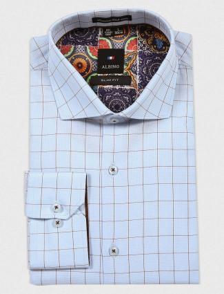 Albino sky blue checked shirt