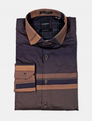 Albino stripe brown mens formal shirt