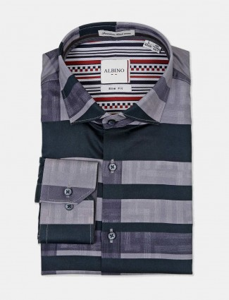 Albino stripe grey full sleeves shirt