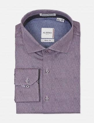 Albino stripe purple cut away collar shirt