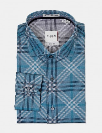 Albino teal green checks cotton shirt