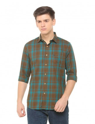 Allen Solly aqua and brown checks shirt
