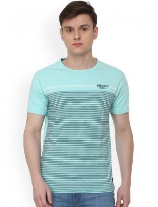 Allen Solly aqua color stripe pattern t-shirt