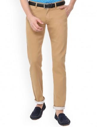 Allen Solly beige slim fit mens trouser