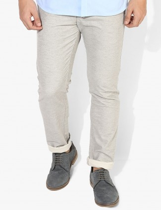 Allen Solly beige slim fit trouser
