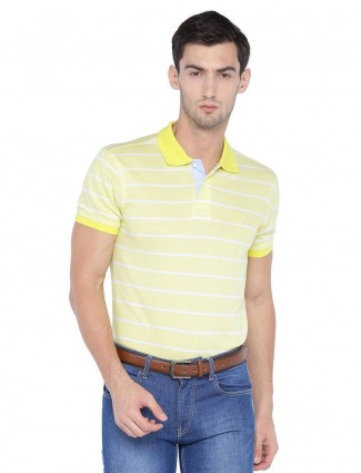 Allen Solly casual yellow stripe t-shirt