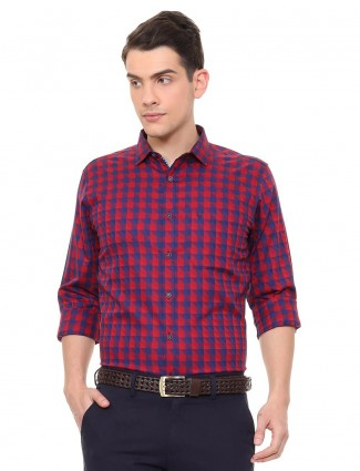 Allen Solly checks navy and red cotton shirt