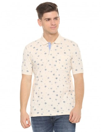 Allen Solly cream colord printed t-shirt