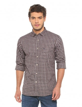 Allen Solly grey and brown shirt