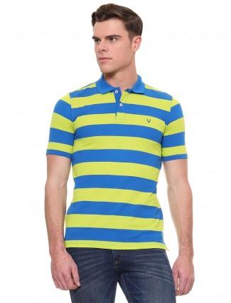 Allen Solly light green and blue stripe t-shirt