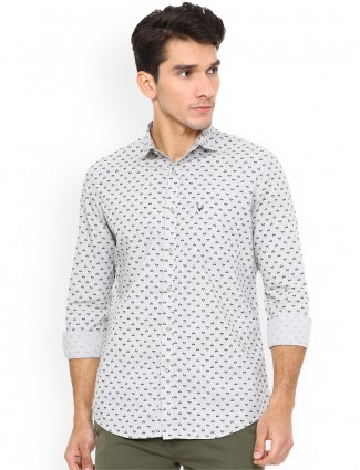 Allen Solly light grey printed shirt