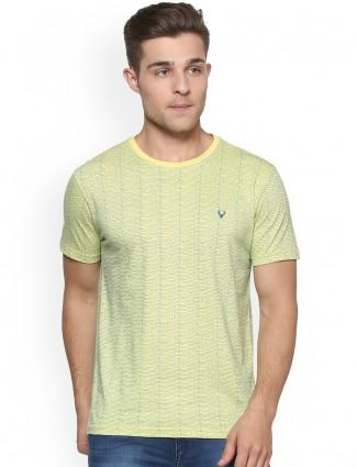Allen Solly light yellow cotton t-shirt