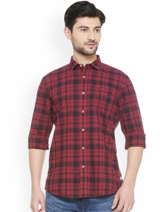 Allen Solly maroon checks shirt
