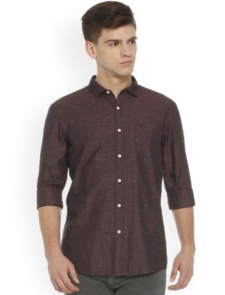 Allen Solly maroon cotton shirt