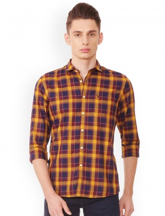 Allen Solly navy and yellow shirt