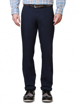 Allen solly navy plain custom fit men cotton trouser