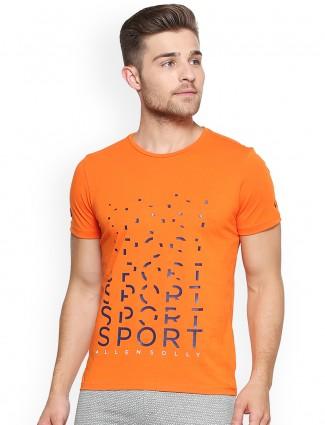 Allen Solly orange cotton t-shirt