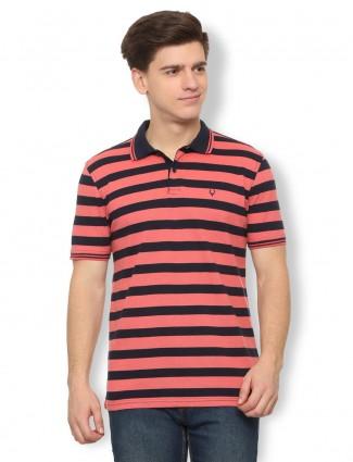 Allen Solly peach hue stripe pattern t-shirt