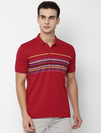 Allen Solly polo neck red stripe t-shirt