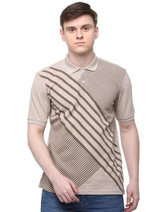 Allen Solly printed beige slim fit t-shirt