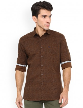 Allen Solly printed brown shirt