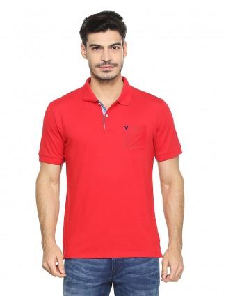 Allen Solly red color plain t-shirt