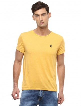 Allen Solly solid yellow colored t-shirt
