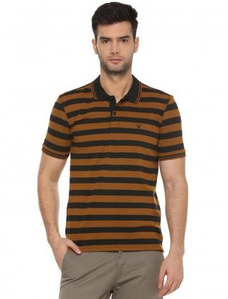 Allen Solly rust orange stripe mens t-shirt