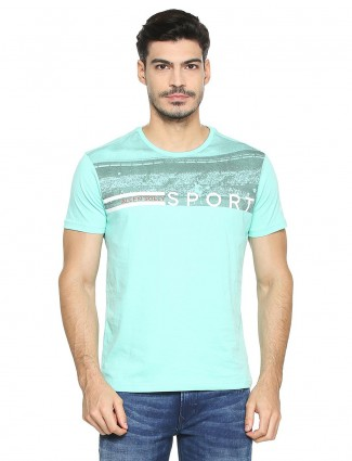 Allen Solly sea green color cotton t-shirt