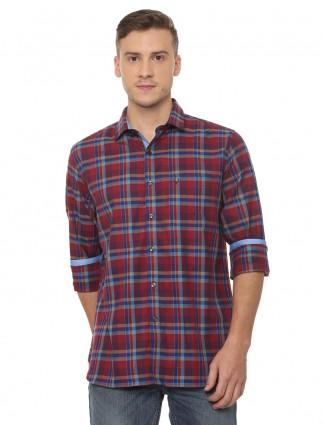 Allen Solly slim fit maroon checks shirt