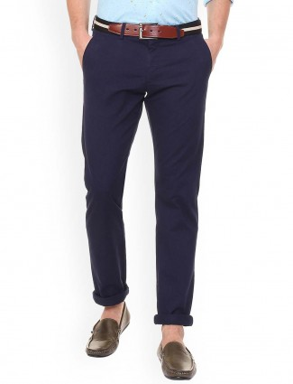 Allen Solly slim fit solid navy trouser