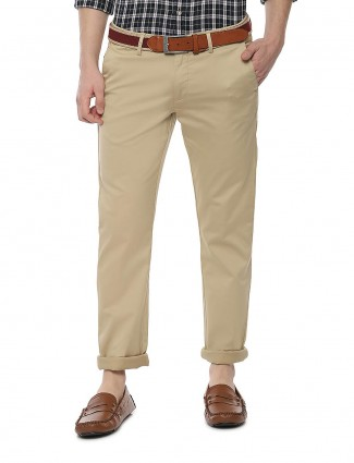 Allen Solly solid beige cotton fabric trouser