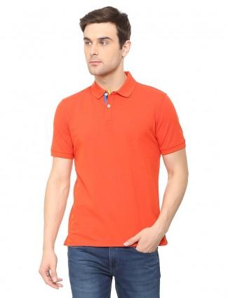 Allen Solly solid bright orange t-shirt