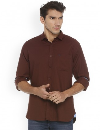 Allen Solly solid brown shirt