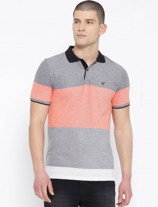 Allen Solly solid gery cotton t-shirt