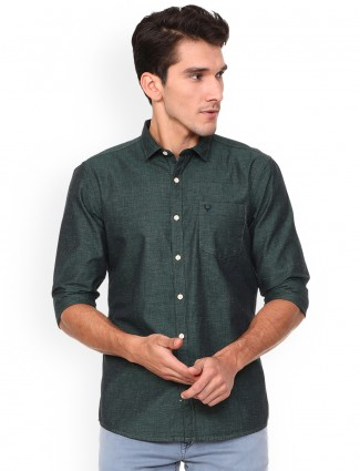 Allen Solly solid green shirt