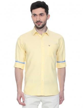 Allen Solly solid lemon yellow shirt