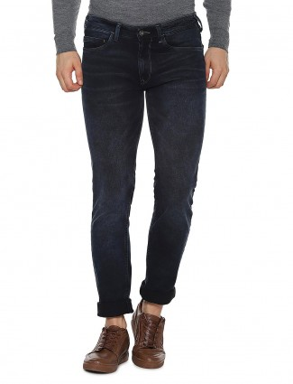 Allen Solly solid navy denim skinny fit jeans